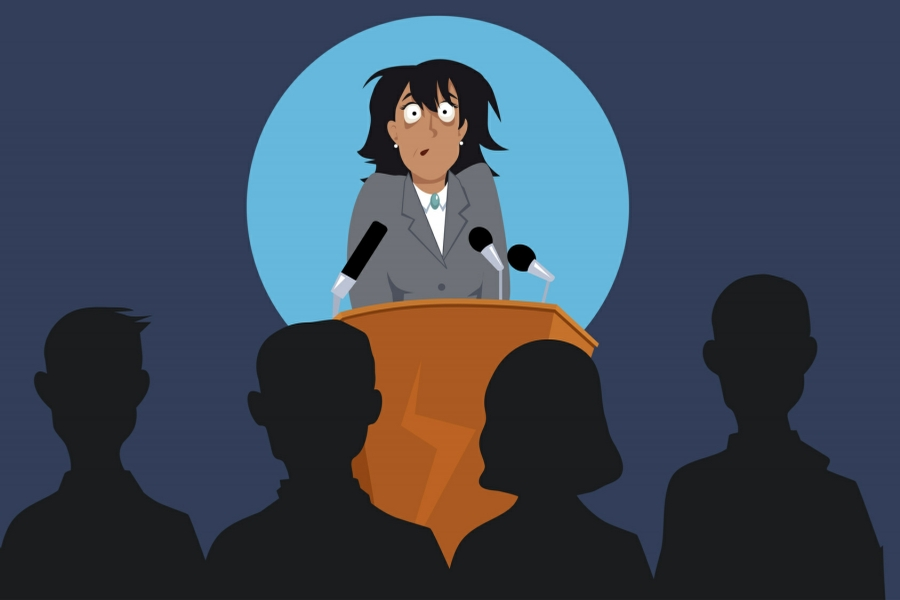 Hypnotherapy for Fear of Public Speaking in Your Town - Cartoon of Woman feeling scared in front of crowd