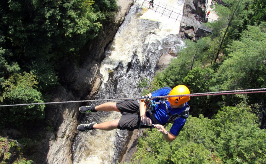 Hypnotherapy for Fear of Heights in Your Town - Man on Rope Over Deep valley