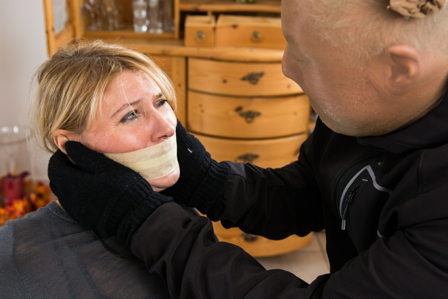 post traumatic stress disorder in Your Town - woman being gagged by a burglar